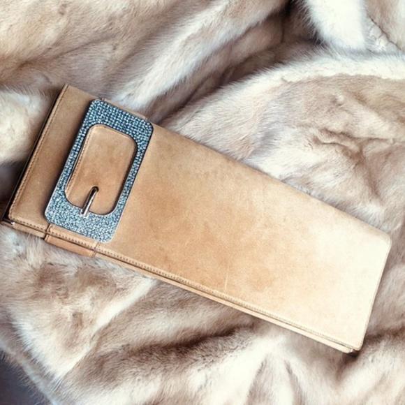 Gucci Handbags - Gucci Suede Bianca Swarovski Crystal Buckle Clutch